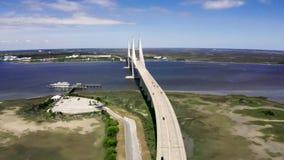 Flyg- kabel-bliven bro Sidney Lanier Bridge arkivfilmer