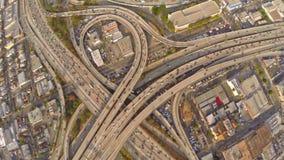 Flyg- Kalifornien Los Angeles motorvägar stock video