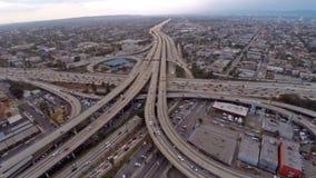 Flyg- Kalifornien Los Angeles motorvägar arkivfilmer