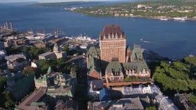 Flyg- Kanada Quebec City Juli 2017 Sunny Day 4K inspirerar 2