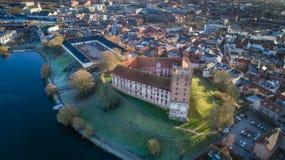 Flyg- Koldinghus en gammal slott i Kolding Danmark Royaltyfria Foton