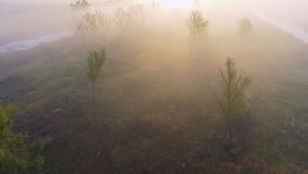 Flyg- längd i fot räknatvideo av den dimmiga morgonen Flyga över den Desna floden Soluppgångtid Kyiv region, Ukraina stock video