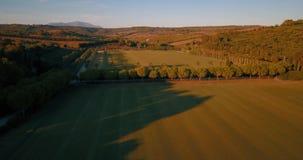Flyg- flyg, låg höjd, över kullar och polofält på solnedgången stock video