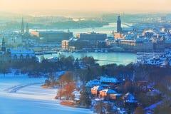 Flyg- landskap för vinter av Stockholm, Sverige Royaltyfri Foto