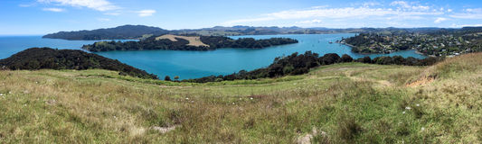 Flyg- landskapsikt av Mangonui Nya Zeeland royaltyfria bilder