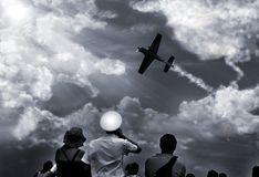 flyg- möte royaltyfri bild