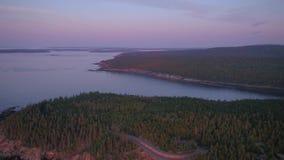 Flyg- Maine Acadia National Park July soluppgång 2017 4K inspirerar 2 lager videofilmer