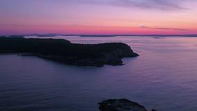 Flyg- Maine Acadia National Park July soluppgång 2017 4K inspirerar 2 stock video