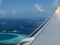flyg- maldives sikt Royaltyfri Bild