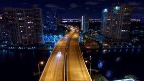 Flyg- Miami Aventura natthorisont Arkivfoto