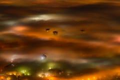 Flyg- nattsikt av Sofia, huvudstad av Bulgarien Royaltyfri Foto