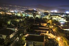 Flyg- nattsikt på Puerto de la Cruz royaltyfri foto