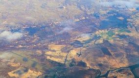 Flyg ovanför Island, flygplanfönstersikt arkivfilmer