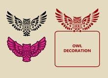 Flyg Owl Ornament Decoration stock illustrationer