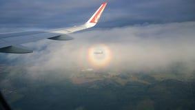 Flyg på ett flygplan Arkivfoton