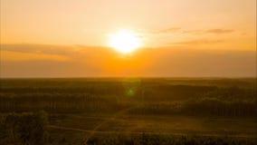 Flyg på solnedgången lager videofilmer