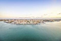 Flyg- panorama av Brindisi, Puglia, Italien arkivfoto