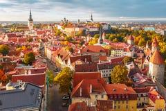 Flyg- panorama av den gamla staden, Tallinn, Estland Royaltyfria Bilder