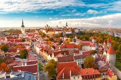 Flyg- panorama av den gamla staden, Tallinn, Estland Royaltyfri Foto