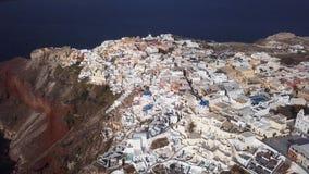 Flyg- panorama av den Oia staden, Santorini arkivfilmer