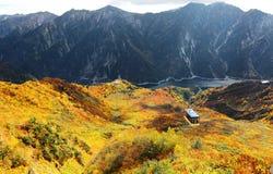 Flyg- panorama av en scenisk kabelbil som flyger över den härliga höstdalen i Tateyama Kurobe den alpina rutten Arkivbilder