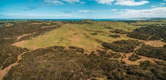 Flyg- panorama av härlig australisk bygd på ljus vårdag Fotografering för Bildbyråer