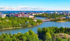 Flyg- panorama av Helsingfors, Finland arkivbild