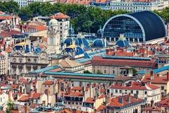 Flyg- panorama av Lyon Fotografering för Bildbyråer