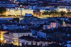 Flyg- panorama av Lyon Arkivfoton