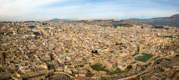 Flyg- panorama av Medina i Fes, Marocko Arkivfoton