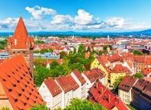 Flyg- panorama av Nuremberg, Tyskland Arkivbild