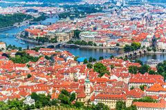 Flyg- panorama av Prague, Tjeckien Royaltyfria Foton