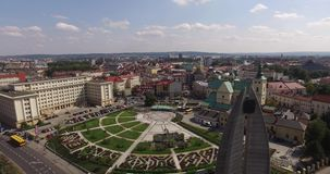 Flyg- panorama av stadfyrkanten i Rzeszow, Polen royaltyfri fotografi