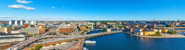 Flyg- panorama av Stockholm, Sverige arkivfoto