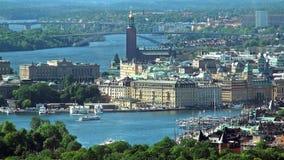 Flyg- panorama av Stockholm, Sverige arkivfilmer