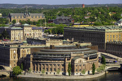 Flyg- panorama av Stockholm, Sverige Royaltyfri Bild