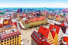 Flyg- panorama av Wroclaw, Polen Royaltyfri Fotografi