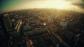 Flyg- panorama av Zagreb stock video