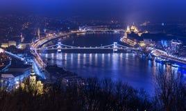 Flyg- panorama för natt av Budapest Fotografering för Bildbyråer
