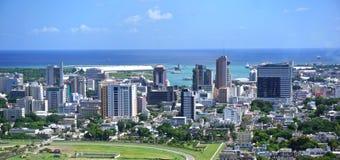 Flyg- panorama Mauritius arkivfoto