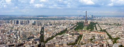 flyg- panorama paris royaltyfria foton