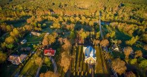 Flyg- panoramakyrka royaltyfri fotografi