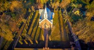 Flyg- panoramakyrka royaltyfria bilder
