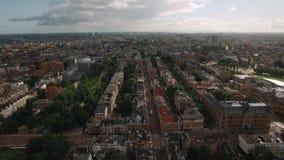 Flyg- panoramautsikt av Amsterdam, Nederländerna stock video
