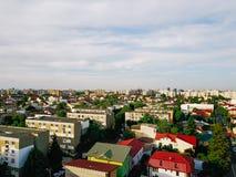 Flyg- panoramautsikt av den Bucharest staden Royaltyfri Fotografi