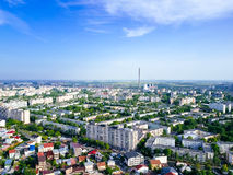 Flyg- panoramautsikt av den Bucharest staden Royaltyfria Foton