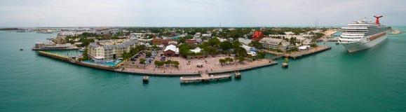 Flyg- panorma av Mallory Square Key West Arkivfoto