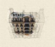 Flyg- perspektiv av parisisk byggnad royaltyfri illustrationer