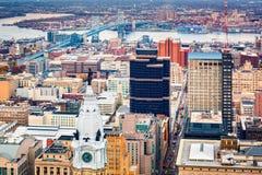 Flyg- Philadelphia cityscape Arkivbild