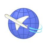 Flyg runt om världen symbol, tecknad filmstil Arkivfoto